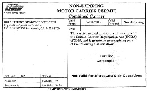 Non expiring motor carrier permit western states for Motor carrier certificate of registration